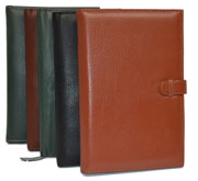 black, tan, camel and green leather writing journals
